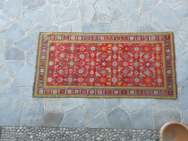 221 x 102  cm   Carpet knotted in Caucasus - district of Karabagh.