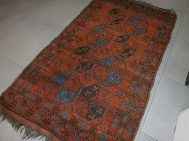 Antique Golli-gul-ERSARI AFGHAN or I think  it it  KAZAKH-ERSARI. In very good condition for the age, late XIX° century. This piece is ALL original. Size is   cm. 202 x 118 cm. = ft.  ...