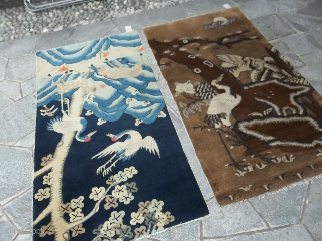 Two antique Chinese carpet pictorial in very, very good