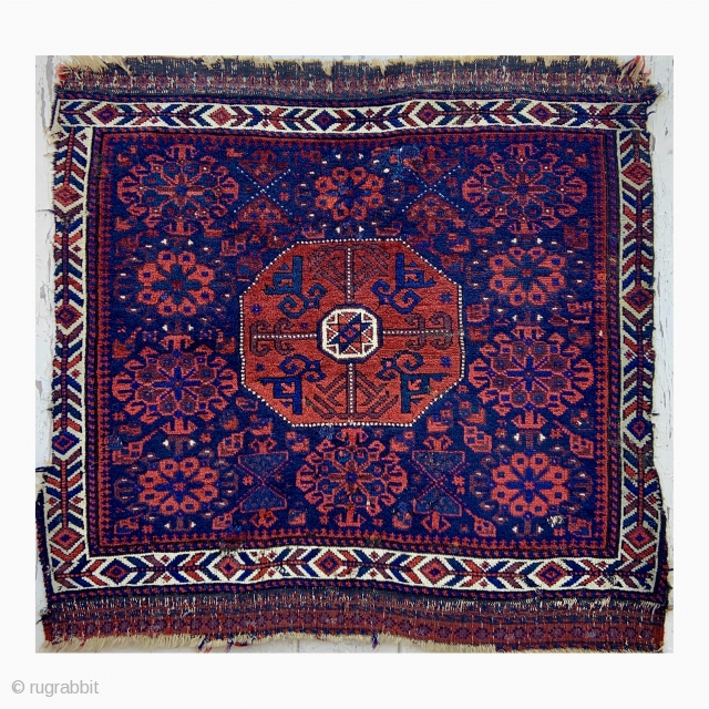Timuri Baluch Large Bagface  - Star in octagon surrounded with Guli-Kaf designs, I like the X motifs above the medallion as well. Could email extra pictures if interested, Thanks.