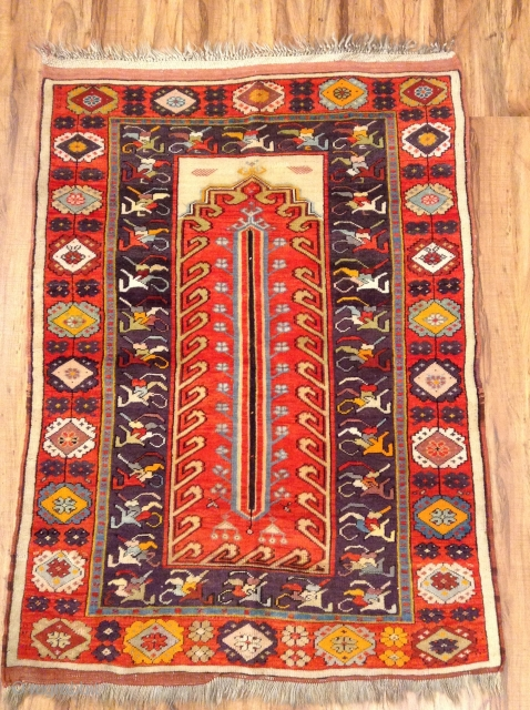 Antique Milas .Size. 125x 90, some synthetic color. Good condition