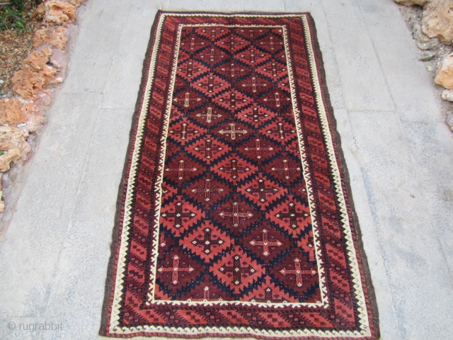 Old Baluch.vegetable dyes 19th. Full pile size 158x80