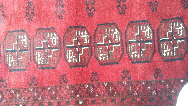 Old turkmen mori gul rug with karakol wool. Size 200x124 cm