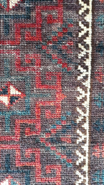 Antique balochi balisht of 19th century and vegetable dyes. Size 112x65 cm