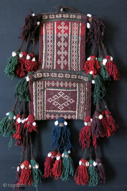 "Baluchistan - Both side woven salt bag with tassels. Size: 19"" by 11"" 8-9"" long tassels with cowry shells."