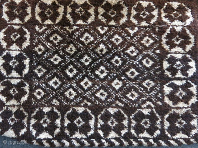 "Iran - Fars province - Jirof tribal pair of chuvals. natural brown -ivory wool. it has cotton strings ending with animal bones to tie while stuffed during migrations. Size: 41"" X 24""  ..."