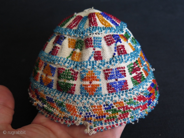 """Syrian - Druze glass beaded hat. Some small condition problems. Size: 6.7″ - 13 cm in diameter and height 5.1"""" - 13 cm."""