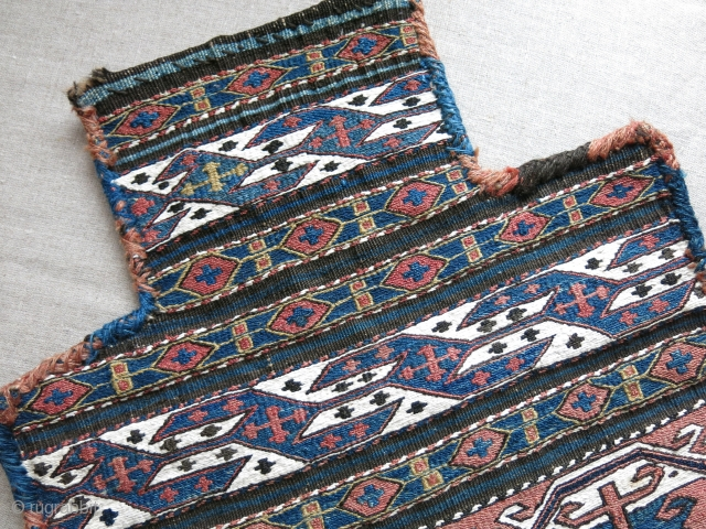 """Shahsavan tribal Salt bag. Whites are cotton, in great condition , all natural dyes. Circa late 19th cent. Size : 20"""" X 16"""" - 51 cm X 41 cm"""