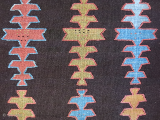 """Persian Hallech all wool village kilim. natural colors with brown abrashes. Circa 1920s - size : 103"""" X 49"""" - 261 cm X 125 cm"""