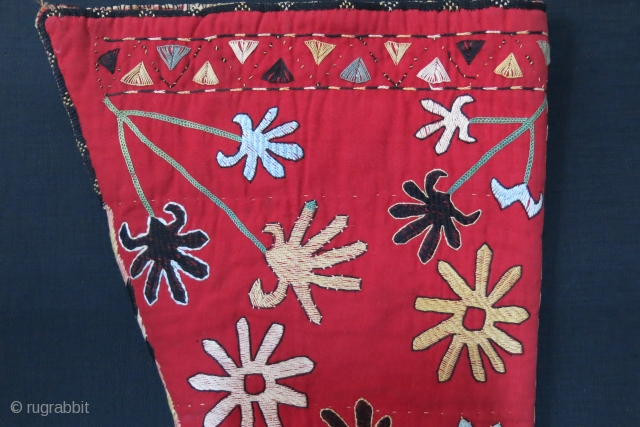"Uzbekistan - Lakai tribal both side silk embroidery bag.Silk side wrappings with silk tassels. natural colors. Circa 1900 - size : 24"" long - 12"" wide on top and 6"" wide at  ..."