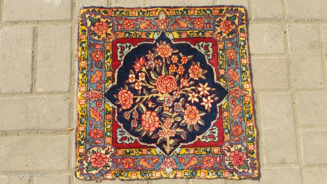 Antique kerman pala.soft and shiny wool original colours.size 47×47 cm.Email for more info and pics.