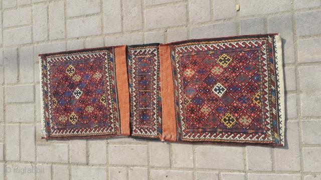 Quchan kordi old sirjan suzani khorjin Size 112×42 cm Needle work For more info kindly contact on my email address. Nabizadah_carpets@yahoo.com
