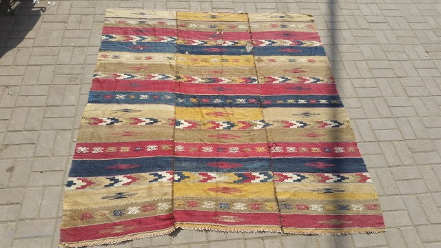 Vintage turkish kilim.Need little bit repairing.woven in three parts.size 203×182 cm.For more info kindly contact on my email address.Nabizadah_carpets@yahoo.com