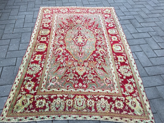 Beautiful antique Indian Agra rug, size: 275x175cm / 9'1''ft x 5'8''ft
