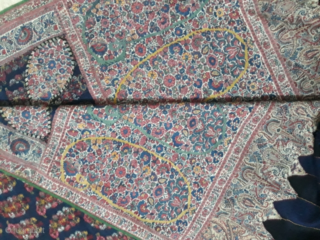 Rare antique kashmir shawl in excellent condition very fine in colours it measures 9 feet long and 4.5 feet wide.