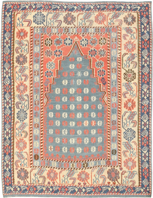 """Antique Turkish Kilim Rug 49067, Size: 4'3"""" x 5'4"""", Country of Origin / Rug Type: Turkish Rugs, Circa Date: 1900 -This Kilim rug uses powerful colors to create clear interest points of  ..."""