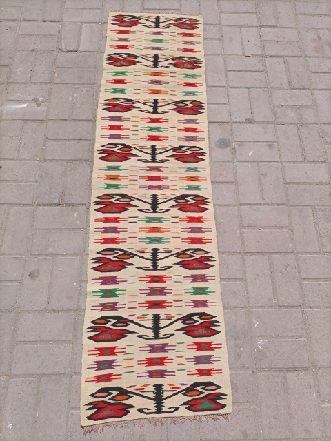 Extremely fine quality kilim with metal-thread work.found as it is no work done.size 182×50 cm.Email for more info and price.