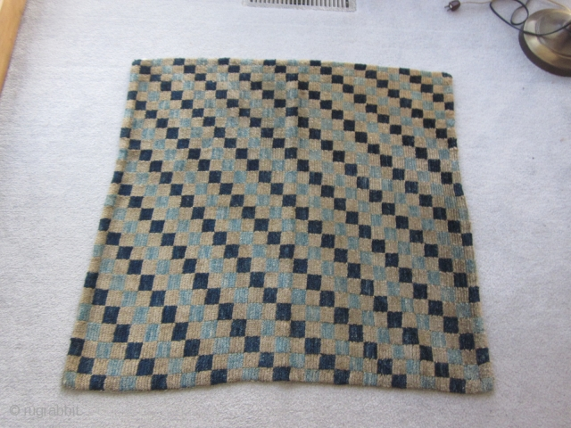 Tibetan : Checkerboad mat, fragment. silky wool c.1910