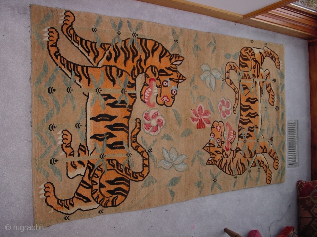 Tibetan saddle piece with not one, but two friendly tigers cavorting in bamboo. Excellent condition. Nick Wright, East of the Bosphorus