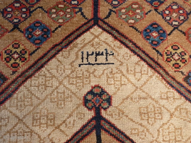 Earliest dated Sarab runner we have seen (A.H 1234=1818). Camel wool, end border missing, one area with no pile but structurally intact (see photos), no holes. The rest of the carpet has  ...