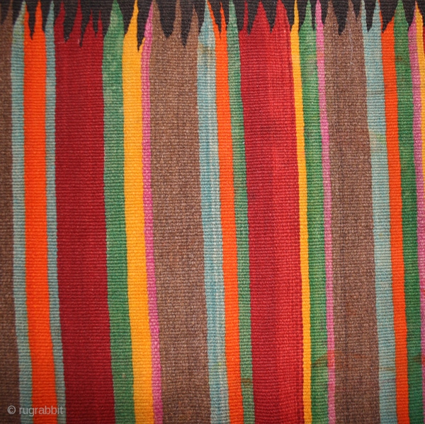 Tunisian Berber kilim with polycrome stripes and black lisiere cod. 0209. Southern Tunisia. Circa 1930's. good condition with some colour runs, stains and small holes. Cm. 209 x 398 (82 x 157  ...