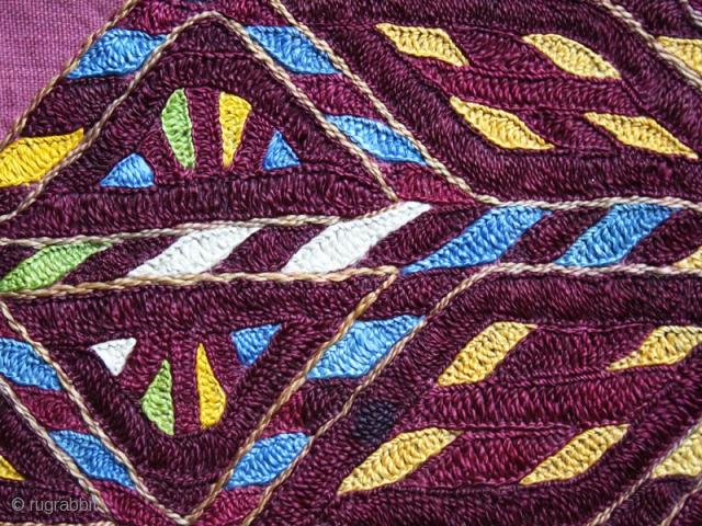 "Chirpy collar fragment cod. 0030. Silk embroidery on cotton. Karakapalpakistan Late 19th. centiry. Dimension cm. 115 x 10 (45"" x 3.5"").Very good condition."