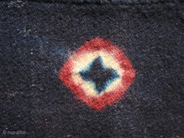 """Tigma monastery runner  """"Nambu"""" fragment cod. 0723. Tied-dyed wool plain weave. Tibet. Circa 1850 or earlier. Good condition with old patches. Cm. 81 x 130 (32"""" x 51""""). 6 ½ stripes  ..."""