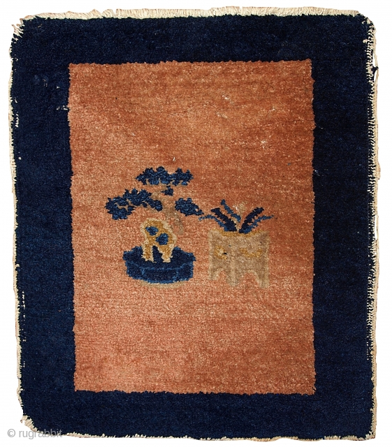 #1B362  Hand made antique collectible Chinese Peking rug 1.8' x 1.10' ( 54cm x 58cm ) C.1900