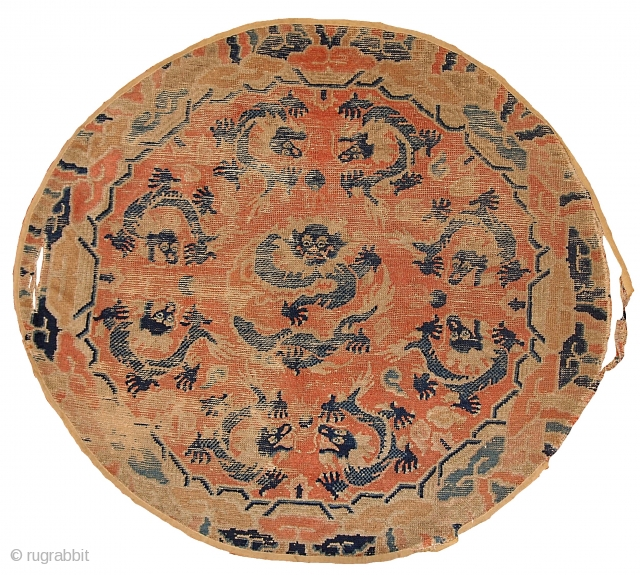 """#1B339 Collectible Chinese 'Ningsha"""" oval rug 3.9' x 4.5' 1850, in original condition: age ware."""