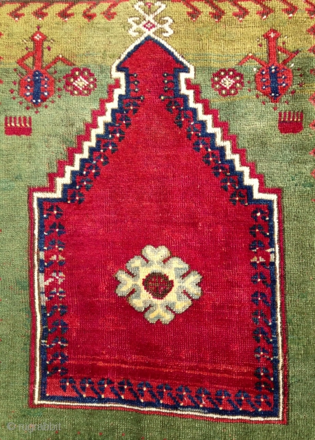 19th century Mucur prayer rug in nearly full pile.  All organic colors, including lovely greens, a deeply saturated red, and a clear yellow.  Very good condition, nicely restored (see last  ...