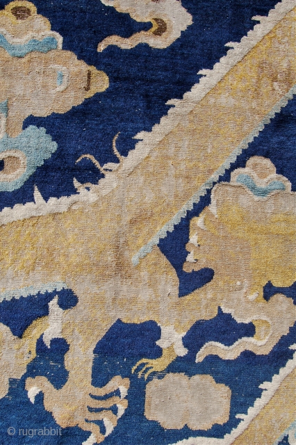 Ning xia dragon pillar rug fragment. China. 18th century. 227 x 104cm. Superb drawing.