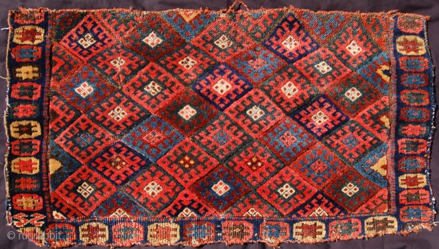 Super floppy and glossy jaff kurd bag face. Missing on border but super dyes and the softest kurdish wool. 19th.c. Organic dyes. 90 x 44cm. Published as plate 13 in James Cohen's  ...
