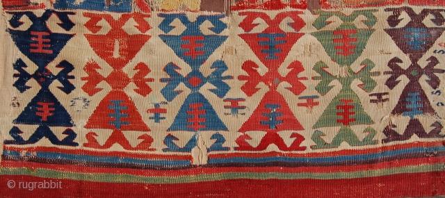 18th century anatolian kelim fragment detail.