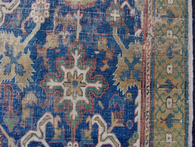 18th century Afshan design carpet fragment. Shusha area, Karabagh. 365 x 235cm. Fresh to the market classical carpets are a rare breed. This example newly arrived from a private British source. Cut  ...