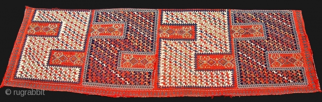 Caucasian Zilleh fragment. long flatweave with a great range of colors, three blues, two reds, two greens, yellow, aubergine and cotton white. just a bit of metallic thread used sparingly for highlights.  ...