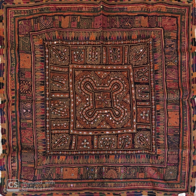 Vintage Kutchi debaria work hand embroidered wall hanging from Kutch region Gujrat India 1900c  also called as dowry peice .the size of the hanging is 160 cms x 160 cms the  ...
