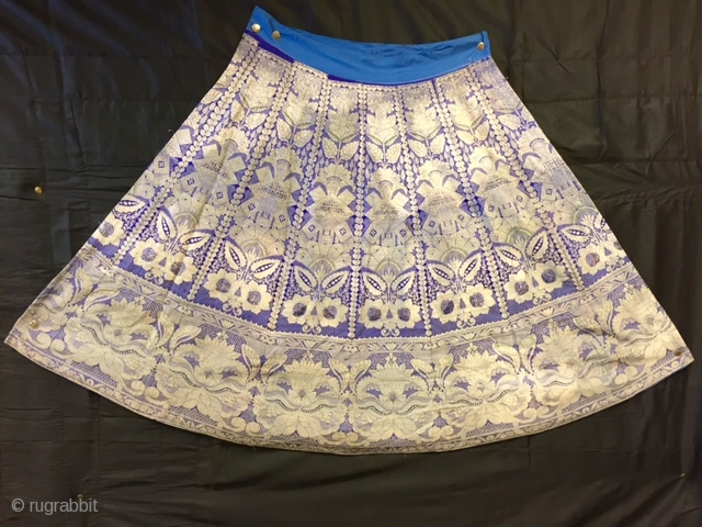 old ghaghra (skirt) from Varanasi used all silver tread work in very fine wearable condition with beautiful design on it.