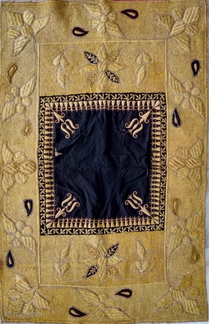 Velvet fabric of kala batu work from Bhopal Madhya Pradesh India used as bichyat (floor mat) used by the royal family's .the size of this floor mat is the 106 cm X  ...