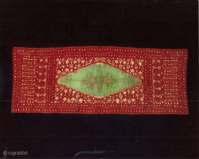 Indonesian textiles  Indonesia 008 - (119cm x 74cm – 78in x 29in) pelangi, shoulder cloth and shawl Malay people, Palembang region, south Sumatra, silk, natural dyes tie dyeing, painting, stitch resist dyeing,  ...