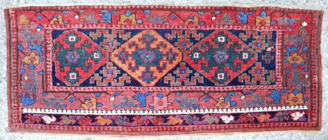 """This is a very old (circa 1850) SaujBulagh Kurdish trapping (50 x 21""""). The absolute best of this type I have ever seen. Full, silky pile with the best color."""