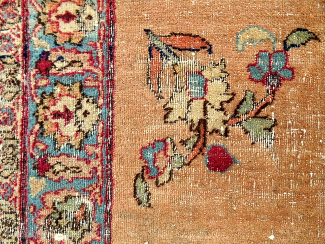Small Faraghan apricot ground mat with flowers. Super fine and old (1840-1860).