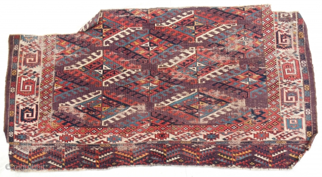 Early purple ground Yomut main carpet fragment. Great color range.