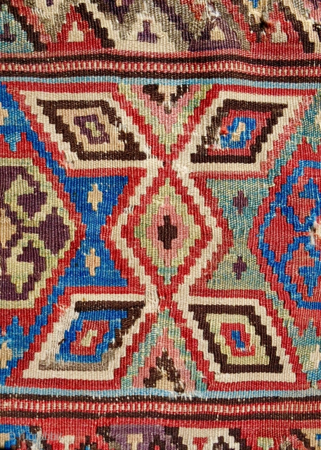 18th c. Fine, West Anatolian Fethiye kilim fragment (ex.Garry Muse). Detail. About 4 x 4ft. Conserved & mounted on linen. Best of type??