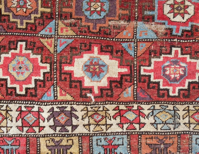 18th C. Classic Konya Cappadocia complete rug (detail). Professionally cleaned & mounted on linen.