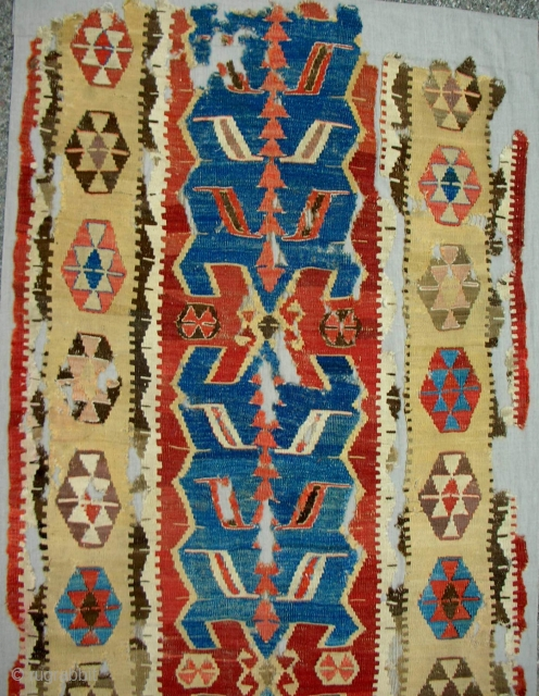 Great Anatolian Obruk 1-piece, nearly complete kilim (detail). Conserved and expertly mounted on linen. One of the best!