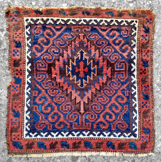 Classic Mushwanni Baluch bagface. Excellent color and wool. c. 1880.