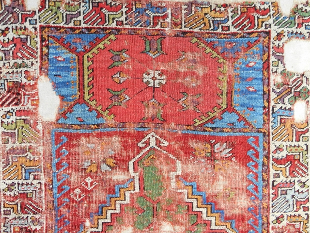 18th c. Mudjar prayer rug (detail). Professionally conserved and mounted on linen.