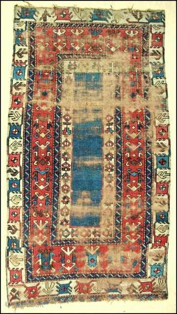 Early Rare Kazak rug fragment. Distressed but beautiful.