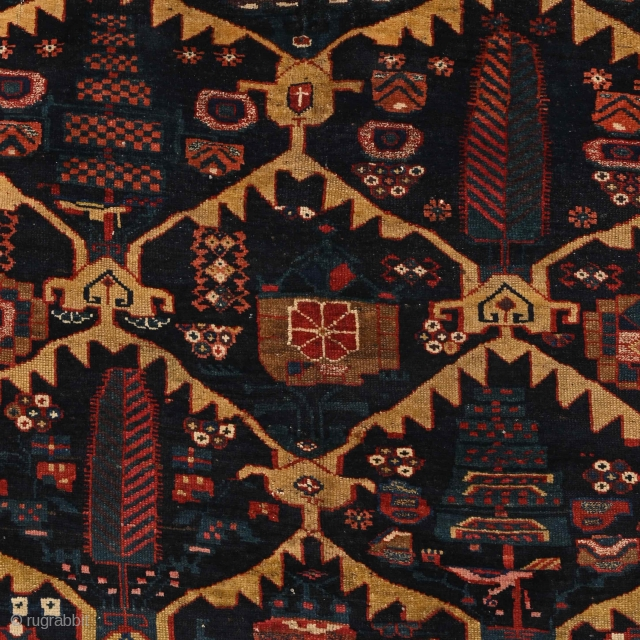 """""""The job of the artist is always to deepen the mystery."""" Francis Bacon. Luri (?) Bakhtiari (?) tribal rug. A mysterious expression of a free mind. An improvisative and highly abstract, imaginative  ..."""