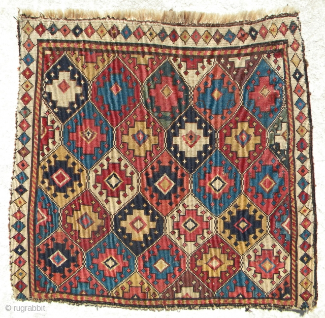 Shahsavan reverse sumac khorjin panel, probably Hashtrud – Miyaneh, third quarter 19th century, 47 x 44 cm; unlike the weaver of Wertime 52, the weaver of this piece has taken many creative  ...